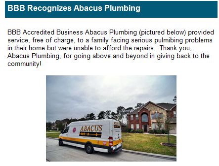 BBB Thanks Abacus for Charity Work in Houston