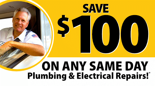 $100 Off Same Day Electrical or Plumbing Service